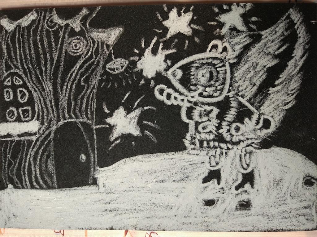 图1:我的第一幅油画棒砂纸画