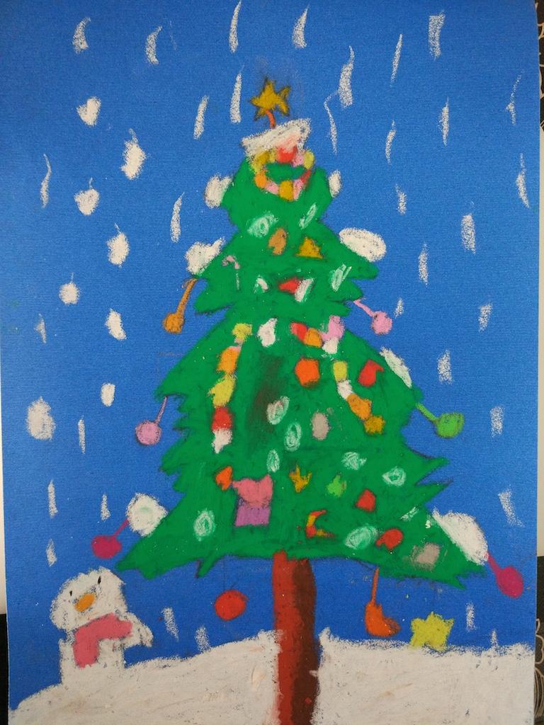 我的砂纸画:圣诞树