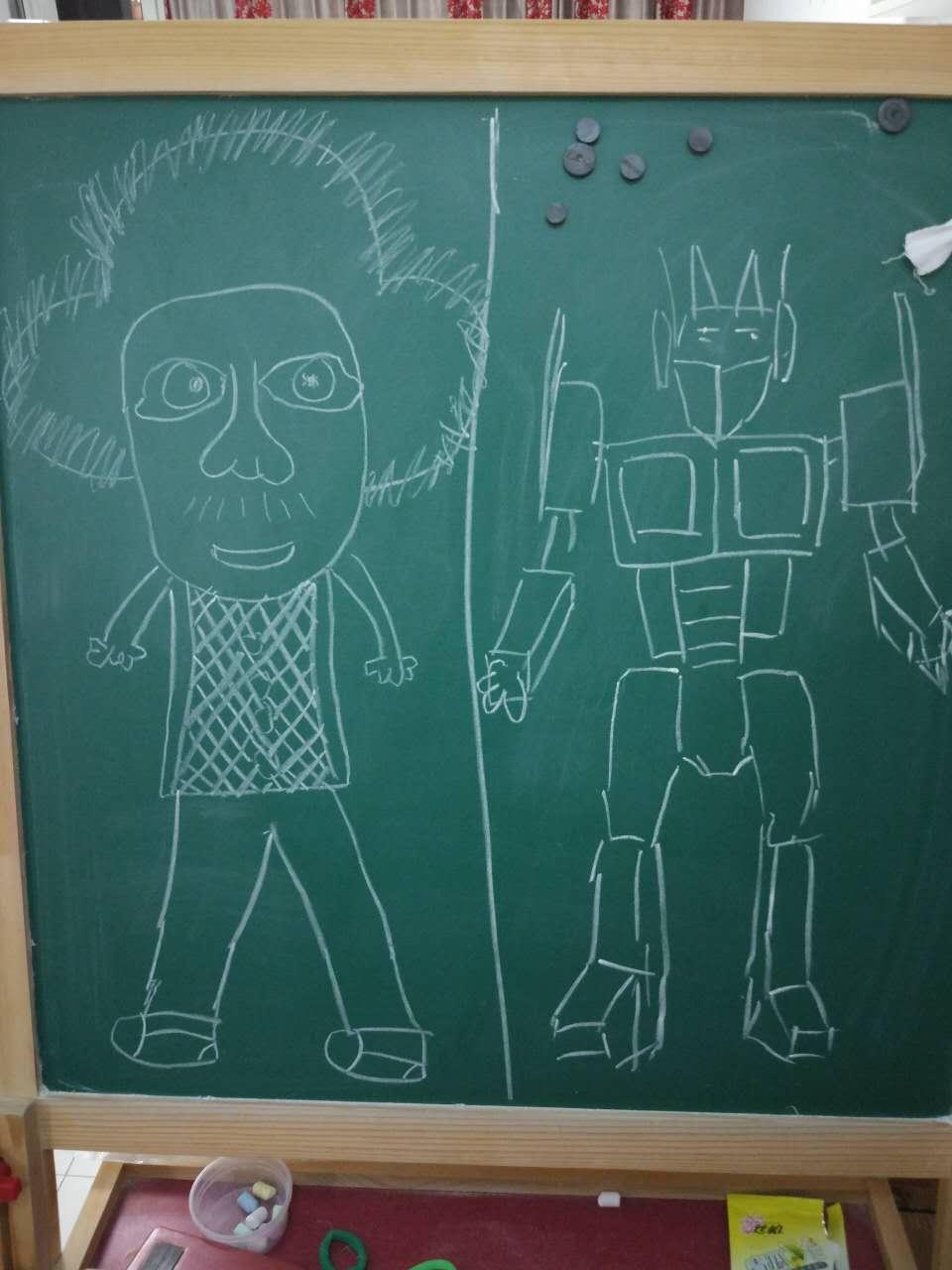 我和爸爸的随手黑板画(左边的是我画的哟)